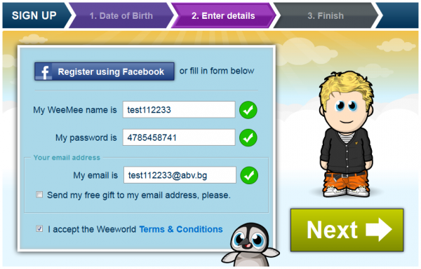 Регистрация в weeworld.com