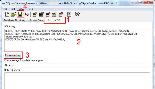 Премахване на историята с един абонат чрез SQL команди в SQLite Database Browser
